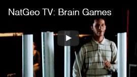 NatGeo TV 'Brain Games'. Video image: Daniel Kish navigates thick metal poles in a studio.