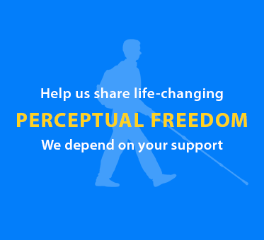 Help us share life-changing Perceptual Freedom. We depend upon your support. Image: Silhouette of Daniel Kish walking with his full-length navigation cane.