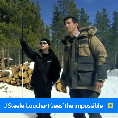 J Steele-Louchart 'sees' the impossible. Image shows him pointing to something with a Weather Channel host in the snowy hills of Colorado. Click to go to his page.