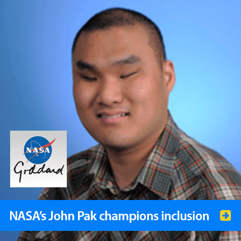 NASA's John Pak champions inclusion. Photo of John Pak is shown with the NASA Goddard Space Center logo.