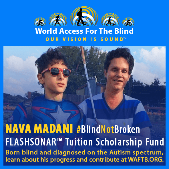 Nava Madani. Blind not broken. FlashSonar Tuition Scholarship Fund. Boirn blind and diagnosed on the Autism spectrum, learn about his progress and contribute at WAFTB.ORG. Photo shows Daniel Kish with Nava Madani at a pumpkin patch. Nava is wearing a Captain America costume and red sunglasses.