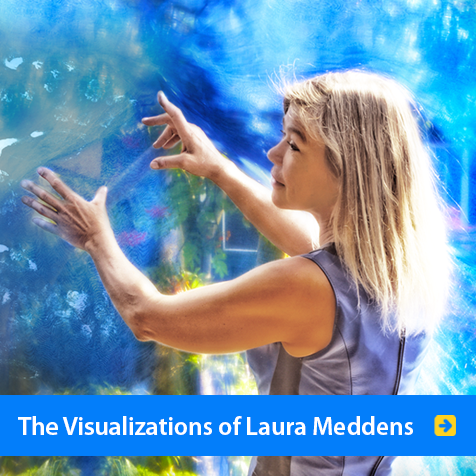 The Visualizations of Laura Meddens. Photo shows Laura extending her arms and fingers in the way she paints on a canvas.