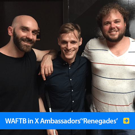 World Access For The Blind in X Ambassador's 'Renegades'. Image shows WAFTB Perceptual Navigation Instructor Brian Bushway with Casey and Sam Harris of X Ambassadors backstage at their concert in Los Angeles.