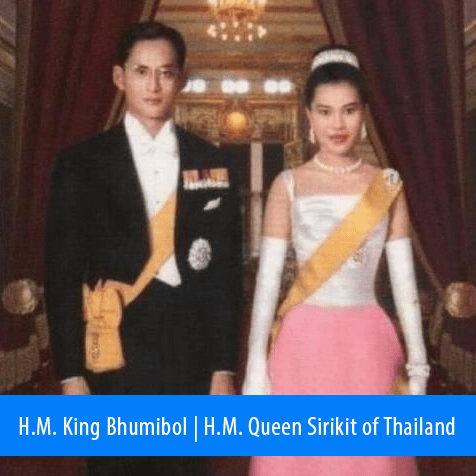 H. M The King Bhumibol | H.M. Queen Sirikit of Thailand. Image: Photograph of the Royal Coupe in formal wear in the 1960s.