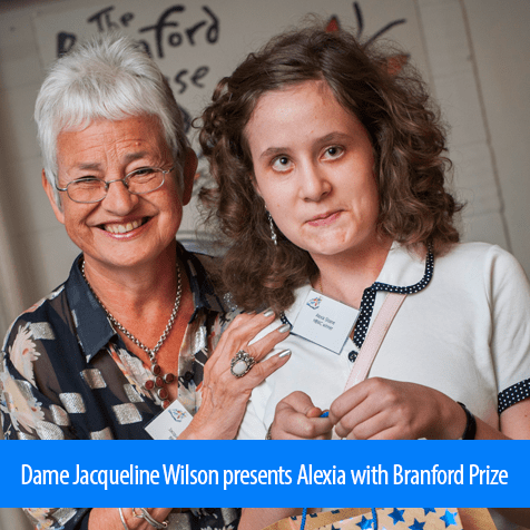 Dame Jacqueline Wilson presents Alexia with the Henrietta Branford Prize.