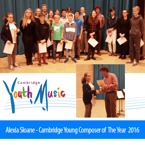 Alexia Sloane - Cambridge Young Composer Of The Year 2016. Image: A montage of images includes Alexia standing with the other nominees, as well as Alexia accepting her trophy, set over the logo of Cambridge Youth Music.