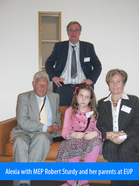 Alexia with MEP Robert Sturdy and her parents at the European Parliament in 2011.