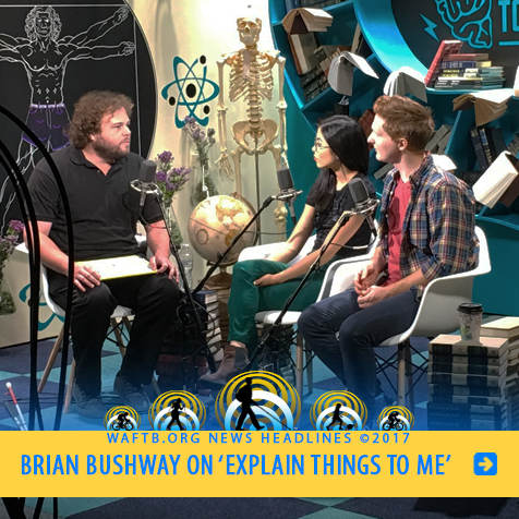 Brian Bushway On 'Explain Things To Me'. Image: Brian in the studio with the show hosts.