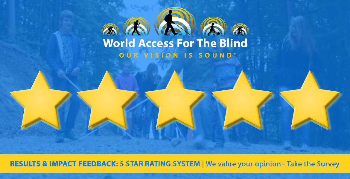 Results and Impact Feedback: 5 Star Rating System | We value your opinion - Take The Survey. Photo banner shows WAFTB students in the background with the WAFTB logo and 5 gold stars in the foreground.