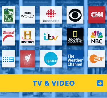 WAFTB TV-Video. Image shows logos from some of the international TV networks WAFTB has appeared on against a backdrop of video thumbnails.