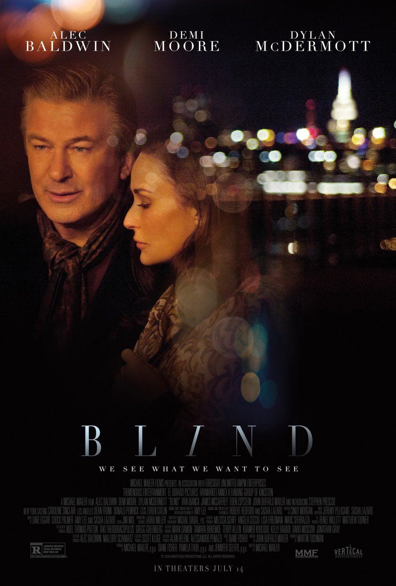 Poster for the movie 'Blind' shows Alec Baldwin and co-star Demi Moore at night with the blurred lights of New York City visible across the Hudson river.
