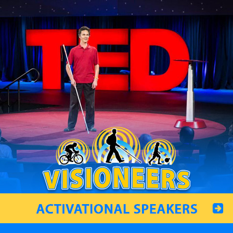 Category link: Activational Speakers. Image of Lead Visioneer Daniel Kish onstage at the global TED Conference.
