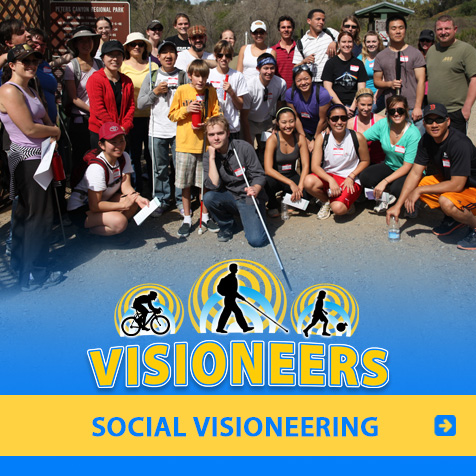 Category link: Social Visioneering. Lead Visioneer Daniel Kish and Visioneers Juan Ruiz and J. Steele-Louchart prepare to lead blind and sighted participants on a canyon walk in California.