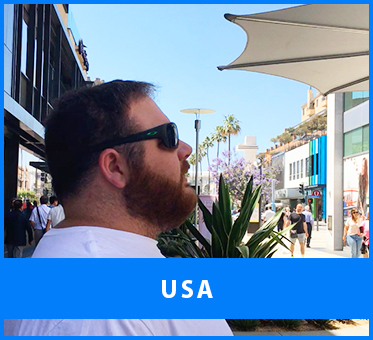 USA. Image: Adult Visioneering student Kevin practices hearing his FlashSonar echoes reflect off the walls of shops at the Third Street Promenade in Santa Monica, California.