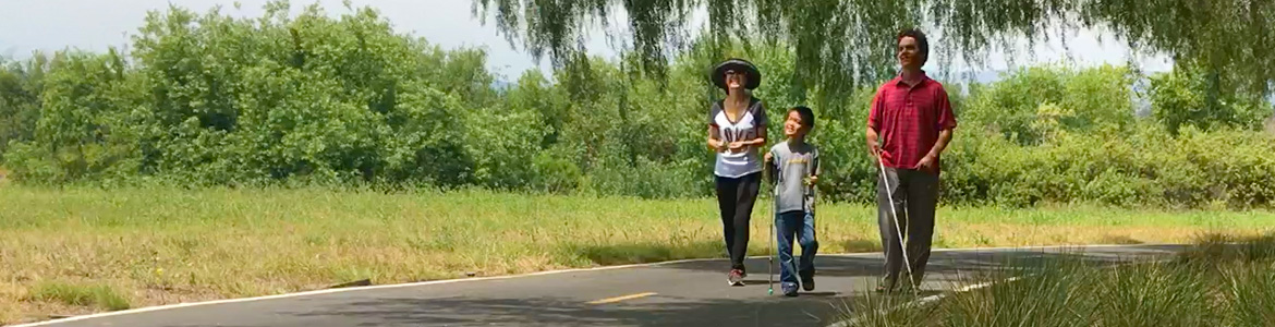 Personal Visioneering.Image: Photo shows Lead Visioneer Daniel Kish working with Junior Visioneer Nathan as they walk through a park along with Nathan's mother.