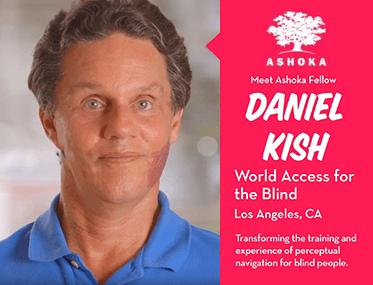 Ashoka. Meet Ashoka Fellow Daniel Kish. World Access For The Blind, Los Angeles, California. Transforming the training and experience of perceptual navigation for blind people. Image shows a photograph of Daniel Kish and the Ashoka tree logo.