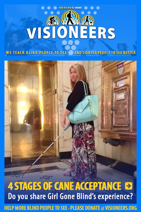 4 Stages of cane acceptance. Do you share Girl Gone Blind's experience. Image: Woman poses for photo while using her white cane in a building elevator lobby.