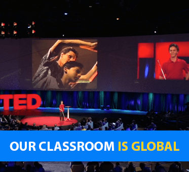 Our Classroom is Global. Image:Lead Visioneer Daniel Kish gives a Keynote Speech at TED 2015 in Vancouver as images are projected on overhead screens.