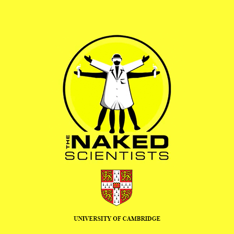 Image: Logo of The Naked Scientists Podcast our of the University of Cambridge. Illustration shows a parody of Leonardo D'aVinci's Vetruvian man with the foreground person wearing a bowler hat, sunglasses and a labcoat with arms extended outward and upward while a black silhouette of another person behind him has their legs and arms extended horizontally. Click here to go to their Facebook page.