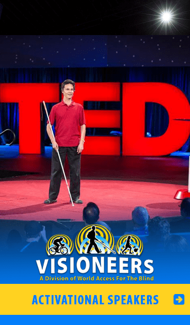 Visioneers Services Category link: Activational Speakers. Image of Lead Visioneer Daniel Kish onstage at the global TED Conference.