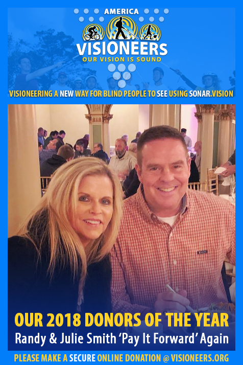 "Visioneers Facebook Module frames a photo of Randy and Julie Smith. Text: Our 2018 Donors Of The Year. Randy and Julie Smith ""Pay It Forward"" Again."