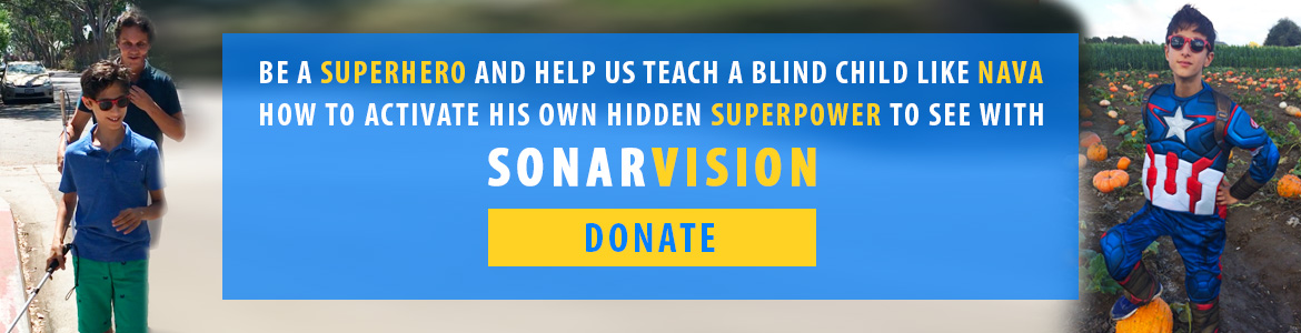 Link banner: Be a SuperHero and help us teach a blind child like Nava how to activate his own hidden superPower to see with SonarVision. Donate button.