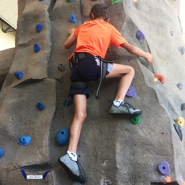 Image: Photo of Student Visioneer Nava on an indoor climbing wall.