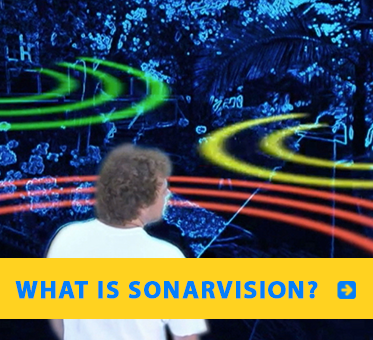 "Link to The Science of SonarVision page. Still framwe from a CNN animation shows Senior Visioneer Brian Bushway sending out tongue clicks and receiving the FlashSonar echo waves back to paint a ""fuzzy Geometry"" of his front yard."