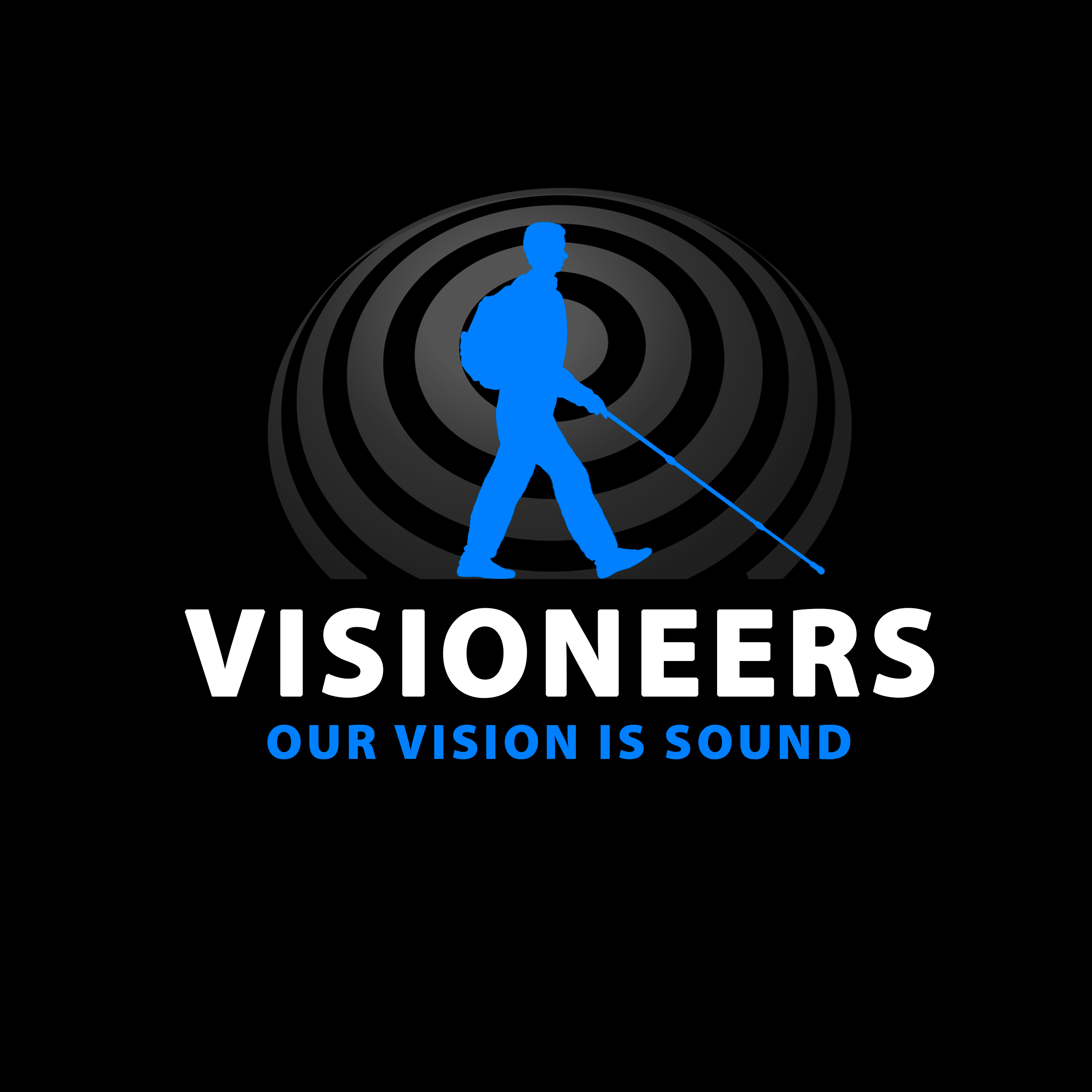 Visioneers 16. Same as previous panel but with Daniel silhouette and Our Vision Is Sound in blue.