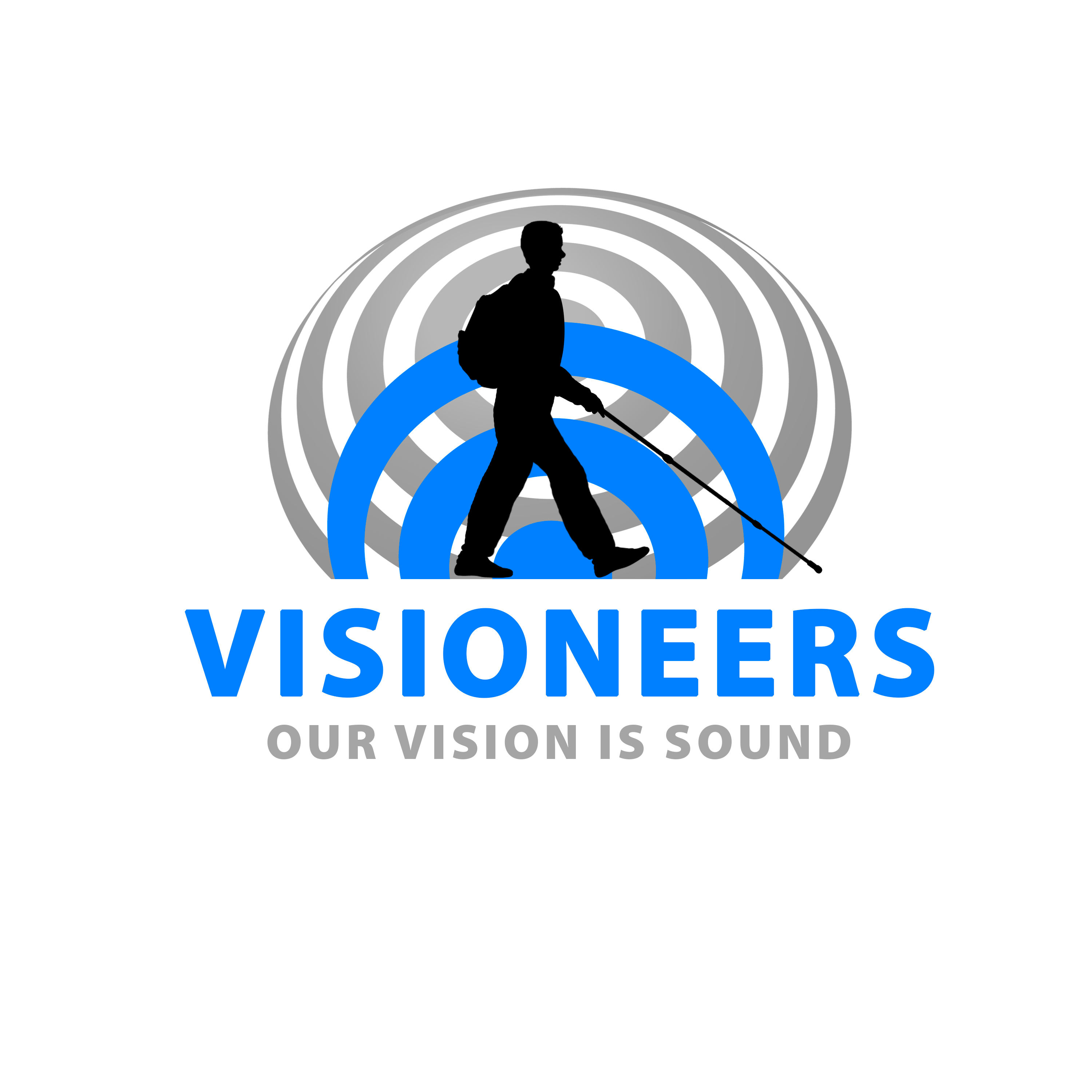 Visioneers 19. Black silhouette of Daniel against blue foreground sonar wave and grey background wave. Visioneers text in blue and Our Vision Is Sound in grey against a white background.