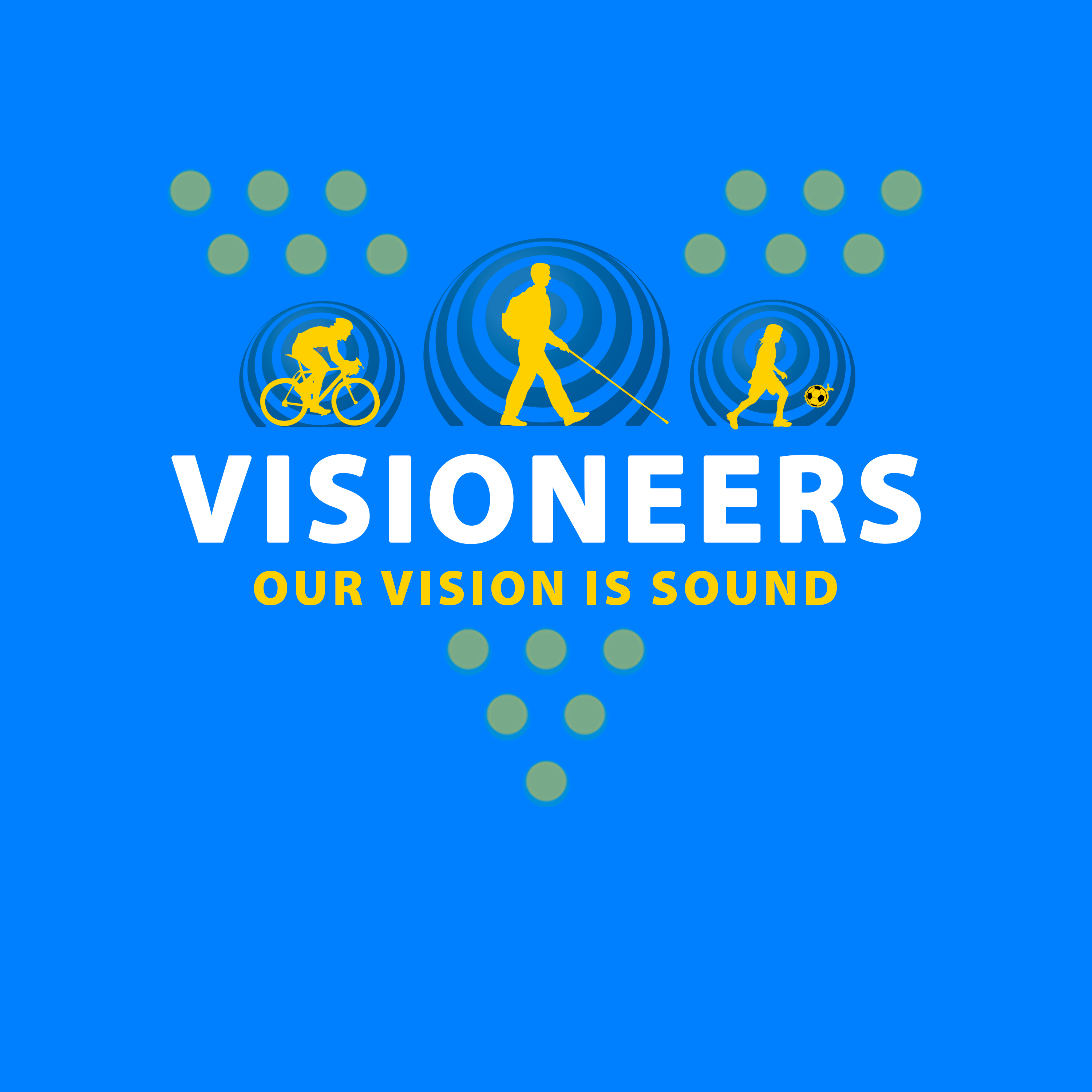 Visioneers 24. Full three icon configuration in yellow with muted yellow V dots against blue background.