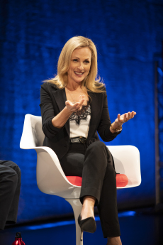 Academy Award-Winning Actor Marlee Matlin smiles as she makes a point sitting onstage as part of the World Science Festival Panel in New York.