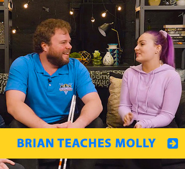 "Brian teaches Molly. Video frame of Brian Bushway sharing a laugh with YouTube star Molly Burke on the set of ""It's Okay To Be Smart"" on PBS Digital."