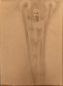 Kahlil Gibran: Female figure, graphite on paper, c1902-1904