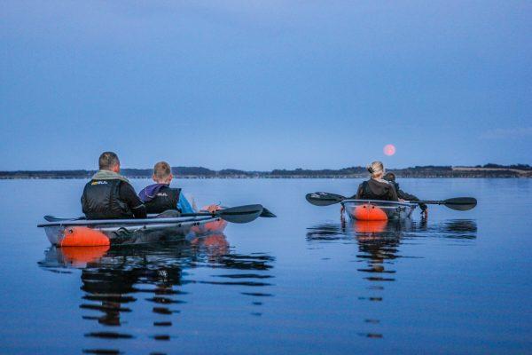 Fuldmånetur i gennemsigtig kajak/glaskajak/kano i Skive ved Limfjorden i Midtjylland/Nordjylland med VisionKayak