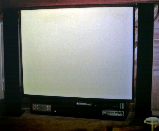1983 system with 10 foot screen pulled down