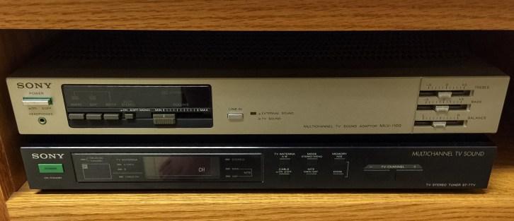 Sony MLV-1100 Mutichannel TV Sound Adaptor (top) Sony ST-7TV TV Stereo Tuner (bottom)