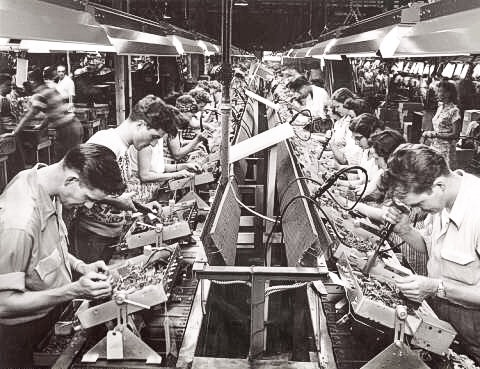 The RCA factory opened in Bloomington in 1940 and became a major employer of men and especially women in the area. The first color televison rolled off the line in 1954, and Bloomington became known as a world leader of television manufacturing. Courtesy Indiana Historical Society