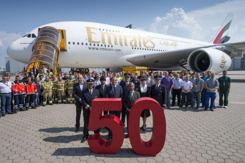 Emirates und Airbus feiern Auslieferung der 50  A380_Credit Airbus (1)