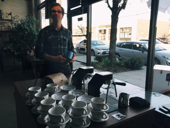 Barista extraordinaire Sam Schroeder of Olympia Coffee rocking the Mavam espresso machine.