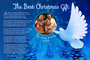 36 x 24 White Dove Personalized Christmas Art Poem