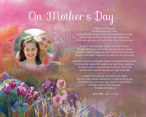 Mother's Day Pink Bridge Floral Art Poem to Personalize