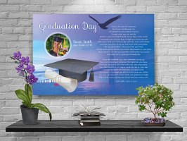 36 x 24 Sunset Bridge Over Water Personalized Graduation Art Poem Canvas Print with Gallery Wrapped Canvas Edge