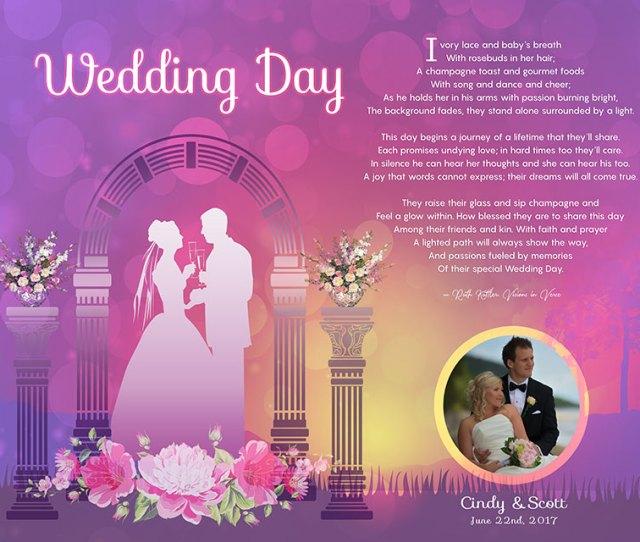 Personalized Wedding Sunset Arch Art Poem