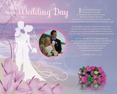 Personalized Wedding Beach with Cally Lilly Art Poem