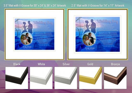 Wedding Blue Sunset Beach Frame and Mat Choices