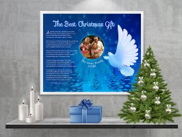 Christmas Dove Personalized Christmas Art Poem Print Framed