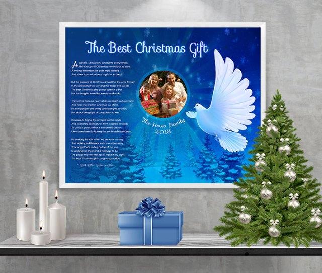 Christmas Dove Personalized Christmas Art Poem Print Framed