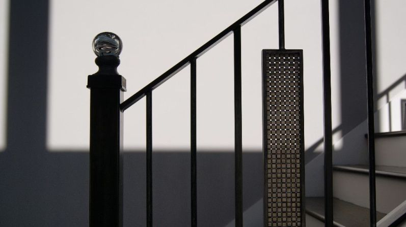 Glass top for Newel and Geometric Iron Baluster