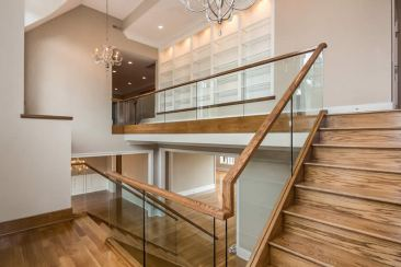 Glass Panel and Wood Staircase